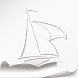 Yacht cuts the paper vector format