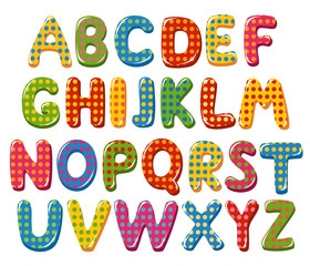 Colorful alphabet letters with polka dot pattern