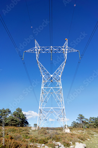 canvas print picture High voltage transmission tower