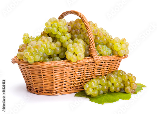 White grape clusters in basket
