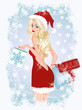 Christmas shopping sexy woman, vector illustration