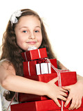 funny girl with gift boxes