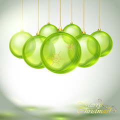 Transparent Green Christmas Balls