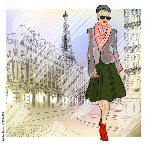 Elegant Fashion girl in sunglasses on the street in Paris