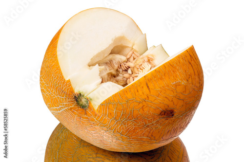 Ripe melon on a white