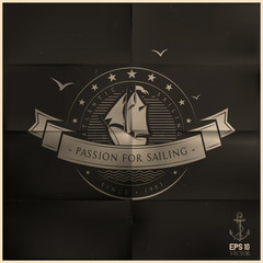 Folded Black Sailing Badge