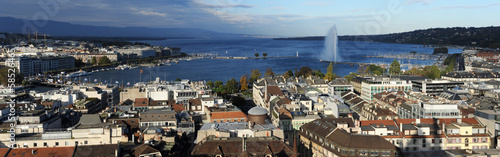 View at the town of Geneva and lake Leman on Switzerland
