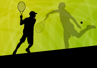 Teenager tennis players active sport silhouettes vector backgrou