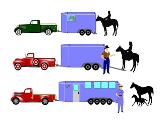 horse trailers with cowboys and pick up truck concept