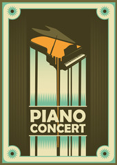 Retro poster for piano concert.