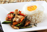 fried basil chicken with fried egg and rice