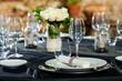 Detail of prepaired dinner table.