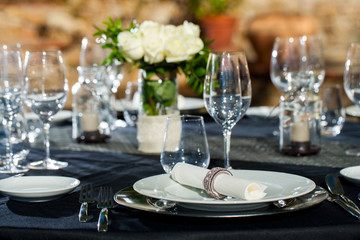 Detail of prepaired dinner table.