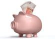 Piggy Bank Saving British Pounds