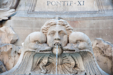 Detail of the Fontana del Pantheon in Rome, Italy.