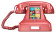 Post retro. Red retro telephone with modern smartphone UI.