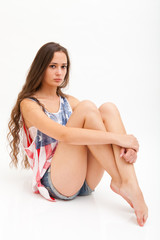 Beautiful ballerina in top colors of USA flag and jeans