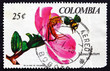 Postage stamp Colombia 1967 Monochaetum Orchid and Bee