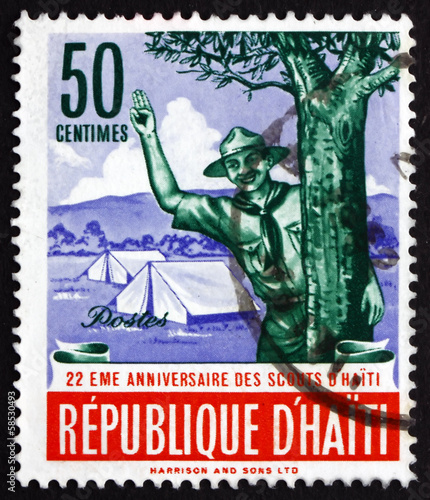 Postage stamp Haiti 1962 Scout Giving Scout Sign