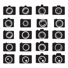 Camera Icons Set - Isolated On White Background