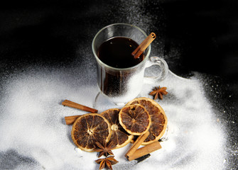Traditional Christmas punch on the black background