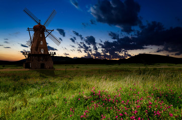 windmill in the night