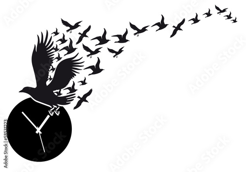 flying birds with clock, vector