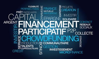 Financement participatif crowdfunding nuage de mots illustration