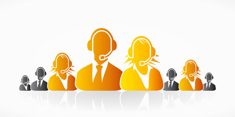 Orange customer service people group abstract silhouettes