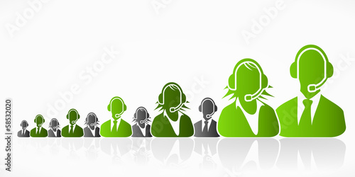 Green customer service people group abstract silhouettes