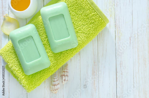 soap on the towels