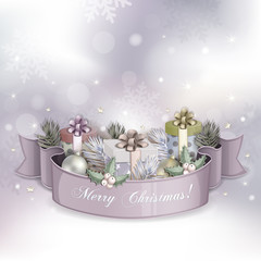Christmas illustration with gift boxes