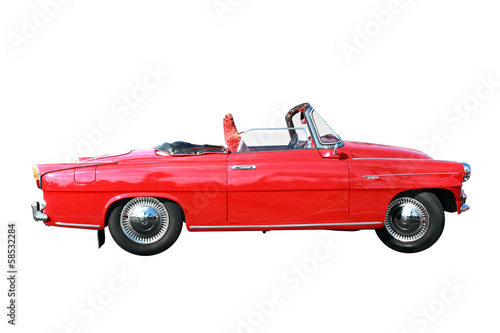 Old car on the white backgrounds