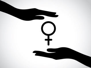 hand silhouette protecting female symbol health services symbol