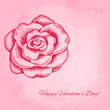 Artistic vector valentine background with ink style hand drawn r