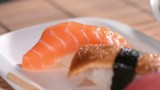 Fresh made Sushi Pieces (Dolly Shot)