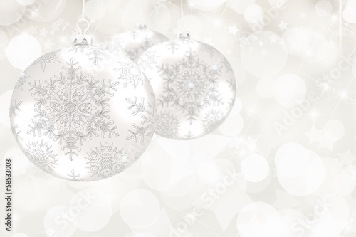 Bokeh Background with Silver Christmas Balls