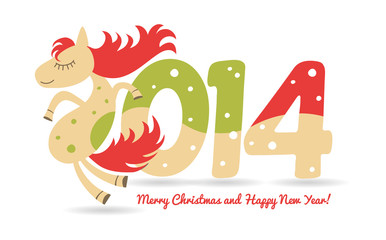 cute horse for Christmas greetings and calendar