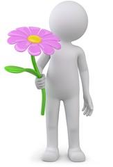 Männchen mit Blume