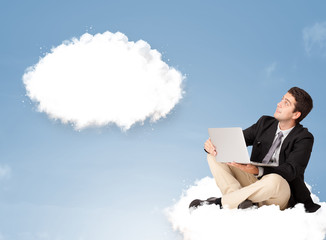 Handsome man sitting on cloud and thinking of abstract speech bu
