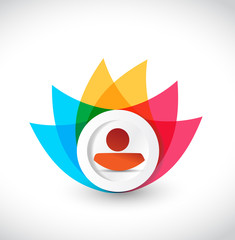color avatar icon flower illustration design