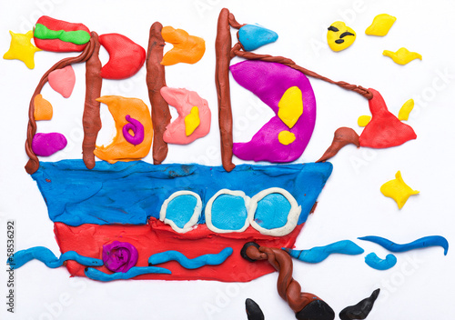 sailing ship made of plasticine