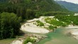 Aerial view tree lined valley wilderness area Fraser River,  Rockies, Canada