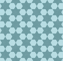 Teal Hexagon Patterned Textured Fabric Background