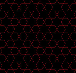Red and Black Hexagon Patterned Fabric Background