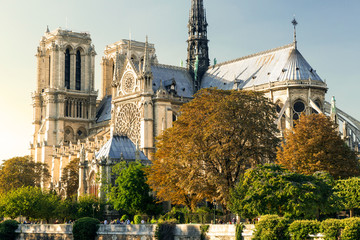 The Cathedral of Notre Dame de Paris at sunset