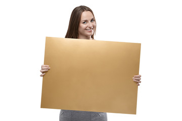 Woman holding golden cardboard