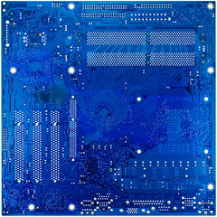 blue circuit board of computer