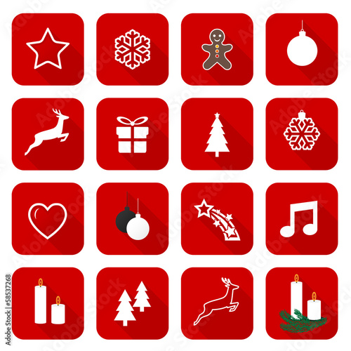 Set of web red flat icons, buttons – Christmas Time