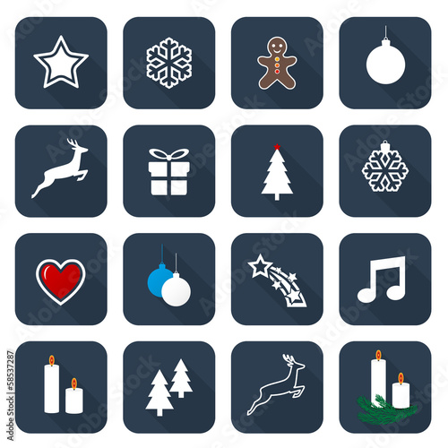 Set of web midnight blue flat icons, buttons – Christmas Time